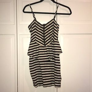 Black and Creme Striped Dress